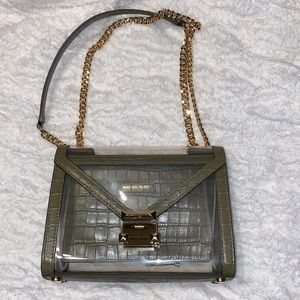 Michael Kors Olive Green alligator clear bag